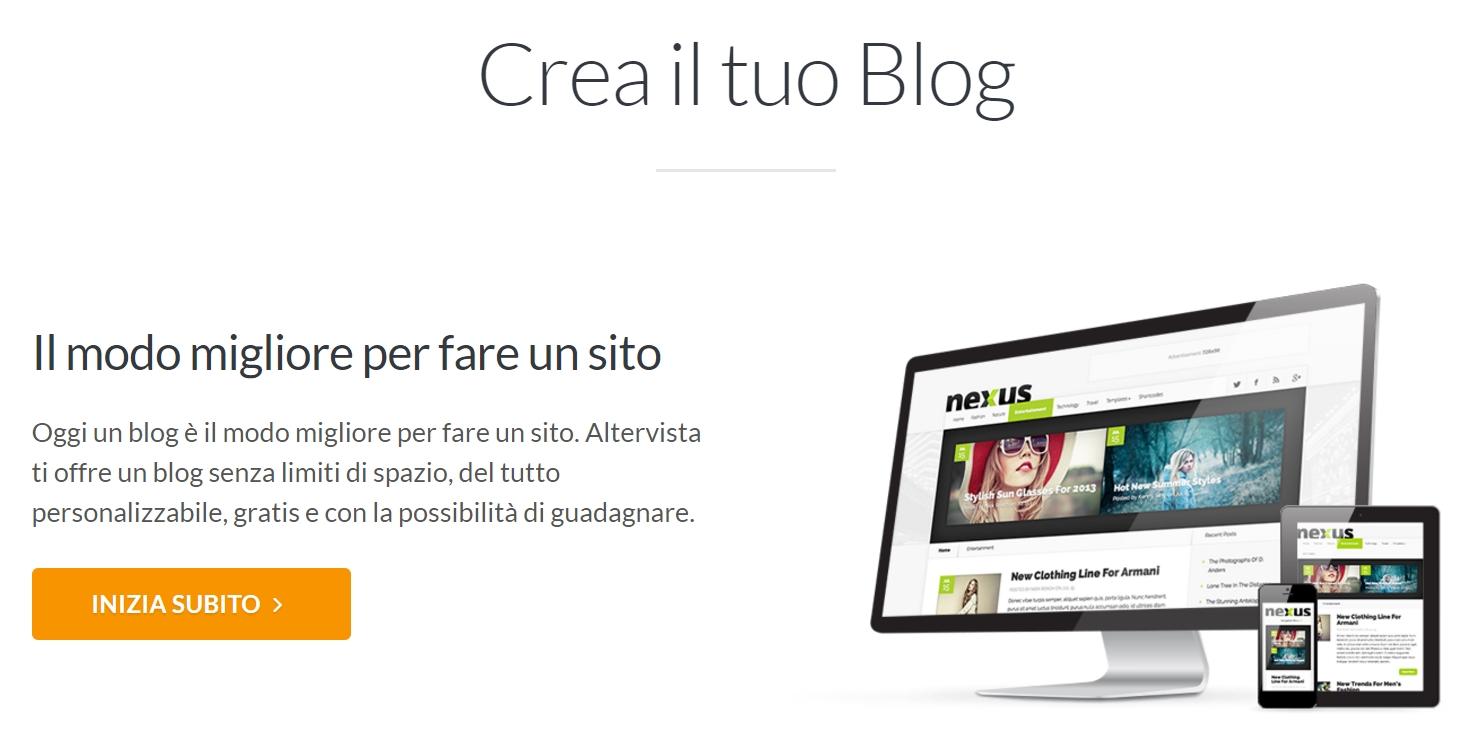 Crea gratis il tuo blog e guadagna con AlterVista