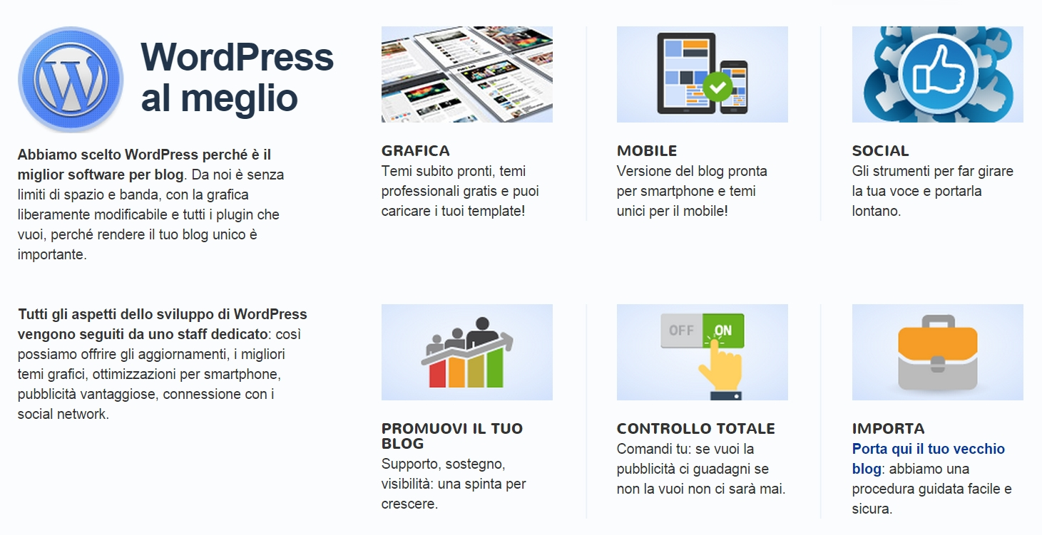 WordPress su AlterVista: i servizi