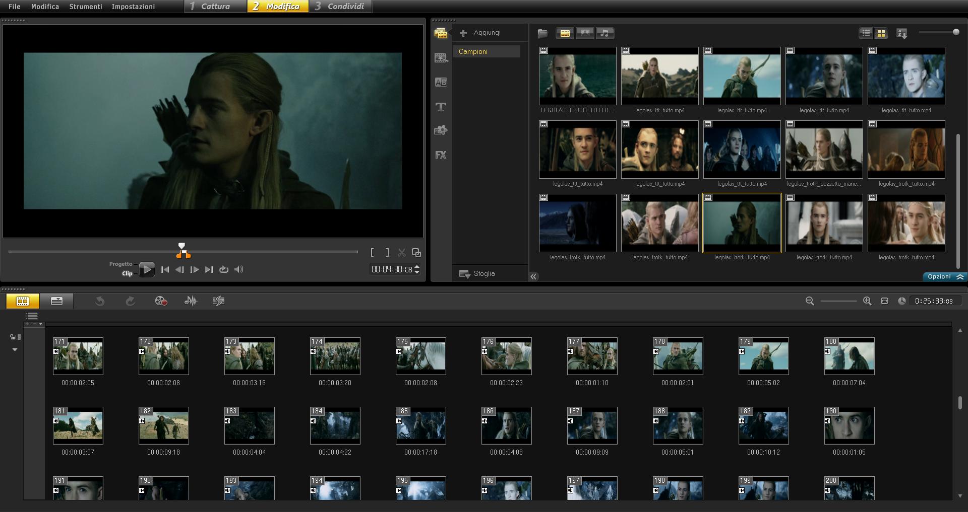 Corel VideoStudio Pro X5: modalità storyboard © leeliah99.altervista.org